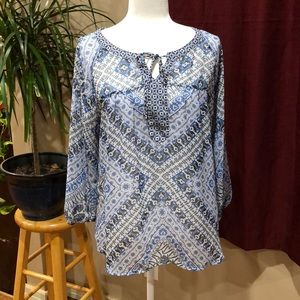 fig & flower blue boho top size L bandana print